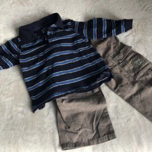 boys set 1 pant & 1 long sleeve top size 24M